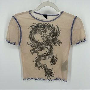 Urban outfitters Mesh Dragon Crop Top Sz S
